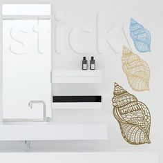 Wall Sticker SHELLS by Sticky!!! Wall Stickers, Wall Murals, Shells, Canvas Prints, City Life, Inspiration, Printables, Leaves, Decoration
