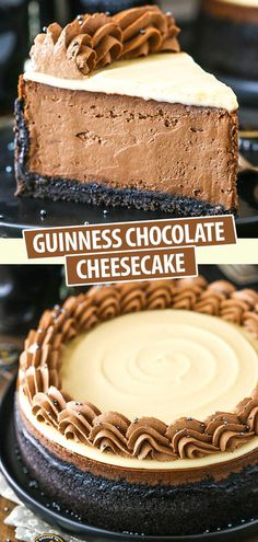 Guinness Chocolate Cheesecake is made with a Guinness-filled chocolate filling Oreo cookie crust Baileys ganache topping and Guinness chocolate whipped cream! Its so smooth creamy and such a decadent cheesecake! No Bake Desserts, Just Desserts, Delicious Desserts, Dessert Recipes, Yummy Food, Frosting Recipes, Guinness Chocolate, Chocolate Chocolate, Guinness Cake