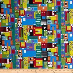 In Plain Sight Large Shapes & Faces Multi Cool. Kathy Hall for Andover fabrics