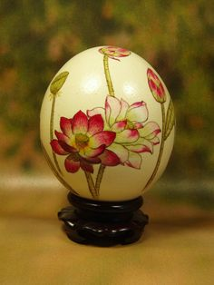 Lotus Flowers/ Hand Painted On Ostrich Egg Shell/ Ostrich Egg Art - By Shenyue