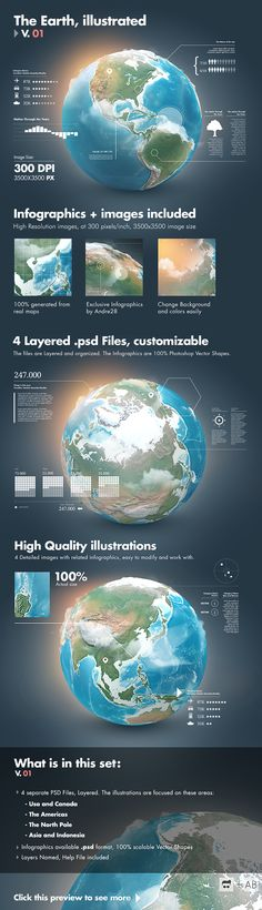 V01 earth illustrated 3d world layered photoshop psd infographics globe realistic