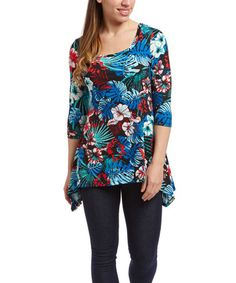 Loving this Blue & Black Hibiscus Sidetail Top on Spring Tops, Hibiscus, Floral Prints, Tunic Tops, Blue, Design, Women, Fashion, Moda