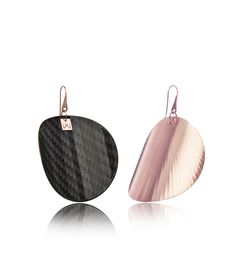 Vanda Ferencz 18 carat rose gold plated circle radial earrings with carbon fiber.