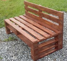 Wooden Pallet Furniture Here we have another mind-blowing pallet wood idea on the list of creative pallet furniture designs. This admirable pallet wood bench is all formed with the adjustment of pallet stacks in various patterns.