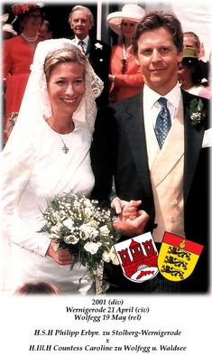 Philipp zu Stolberg-Wernigerode wed Caroline zu Wolfegg und Waldsee on 19 May 2001, the bride wore a diamond kokoshnic tiara.