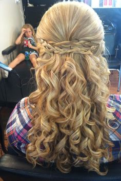 Amazing Long Blonde Homecoming Hairstyle love the bored little girl in the background