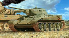 1943 Kursk T34 mod 42 y Tiger destruido