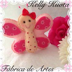 Pingente de bolsa, borboletinha rosa