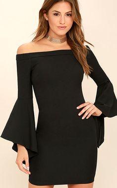 Every Breath You Take Black Off The Shoulder Dress via @bestchicfashion