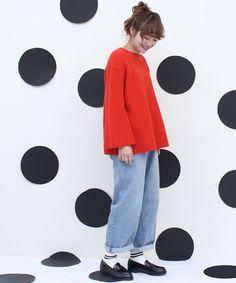 AMBIDEX Store ●ワッフル編みフレアープルオーバー(F シロ): Dot and Stripes CHILD WOMAN