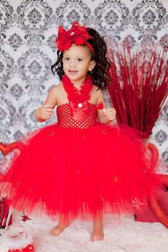 Little Miss Valentine Red Tutu Dress with Matching headband-
