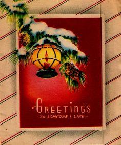 Vintage Christmas Card Lantern Pine Branches Ice Snow