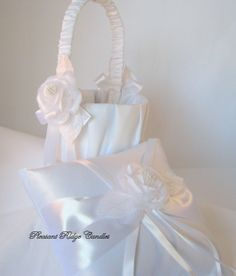 Flower girl basket and ring bearer pillow via Etsy.com