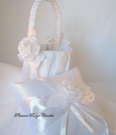 Flower girl basket and ring bearer pillow via Etsy.com