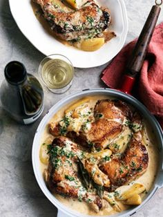 Poulet Vallee d'auge - chicken with apples in brandy cream sauce.
