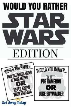 Would You Rather Game - Star Wars Edition Free Printable Use this on road trips, or while waiting in line at the new Star Wars Land Disneyland! Disney Party Games, Star Wars Party Games, Kids Party Games, Games For Kids, Star Wars Birthday Games, Star Wars Day, Star Wars Kids, Would You Rather Game, Star Wars Classroom