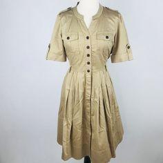 Jones New York Signature Career Dress Womens 8 Khaki Safari Knee Length Pockets   eBay