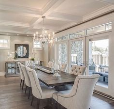 traditional dining room design with upholstered dining room chairs, neutral formal dining room decor, tan white and silver dining room design with coffered ceiling and elegant chandeliers Home Interior, Interior Design, Kitchen Interior, Elegant Dining, Dining Room Decor Elegant, Formal Dinning Room, Classic Dining Room, Luxury Dining Room, Beautiful Dining Rooms