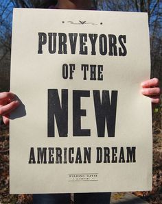 Purveyors of the New American Dream by WildingDavisCompany on Etsy, $15.00