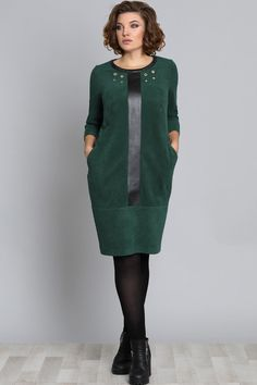 Dress Galean Style, green (model – Belarusian knitwear in the Sewing Tradition online store - Kleidung Ideen Hijab Fashion, Fashion Dresses, Cocoon Dress, Matching Couple Shirts, Hijab Style, Mode Chic, Jeans Rock, Mode Hijab, Mode Vintage