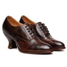 Oak Tree Farms Jane Teak Full Leather Lace Up Victorian Shoes