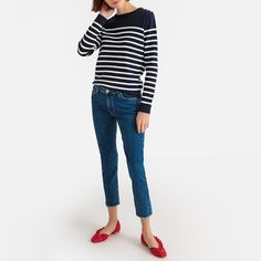 Cotton breton striped jumper/sweater with buttoned shoulders and crew neck La Redoute Collections Breton Stripes Outfit, Pull Marine, A New York Minute, Jumper Outfit, Nautical Stripes, Over 50 Womens Fashion, Jumpers For Women, Mannequins, Trousers Women