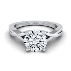 14k White Gold IGI-certified 1ct TDW Round Diamond Solitaire Engagement Ring With Cathedral Setting (H-I,VS1-VS2) (Size - 4), Women's
