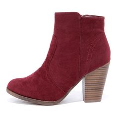 f3991e4a5de4 Heydays Wine Red Suede Ankle Boots (4255 ALL) ❤ liked on Polyvore featuring  shoes