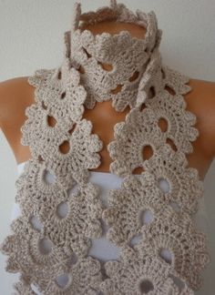 Beige  Queen Anne's Lace Scarf  Crochet Scarf  Cowl Scarf Gift for Her Mom Teacher - fatwoman - Bridesmaid Gift