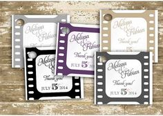 "FREE SHIPPING 50 Custom printed Movie / Film Strip themed 2"" square custom favor tag, product tag, wedding gift tag, wedding tag, place card on Etsy, $41.35 CAD"