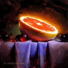 Grapefruit by David Cheifetz Oil ~ 5 x 5 // some kind of supernova! Painting Still Life, Paintings I Love, Still Life Fruit, Academic Art, Fruit Painting, Still Life Photos, Fashion Painting, Contemporary Paintings, Art Oil