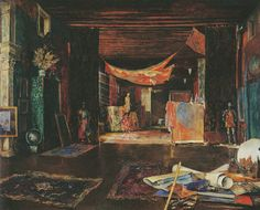 The interior of Mariano Fortuny's studio in Palazzo Orfei in Venice, painted by Fortuny.