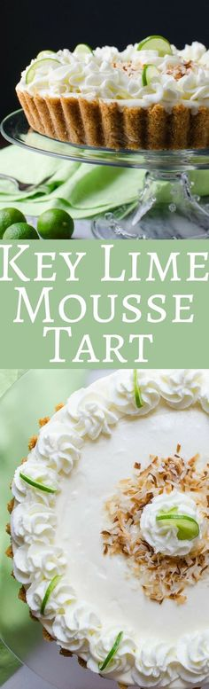 This creamy Key Lime Mousse Tart recipe can be served chilled or frozen! A delicious spring or summer dessert and perfect for Easter and Mother's Day! via /GarlicandZest/