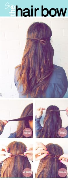 The Little Hair Bow | Quick & Easy Professional Look Hair Updo Tutorials By Makeup Tutorials http://makeuptutorials.com/easy-hairstyles-for-work/
