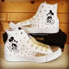 "Custom Converse on Instagram  ""Mickey Mouse High Tops with mixed silver and  gold Swarovski crystals  converse  customconverse  customshoes  mickeymouse  ... 8232b45c704"