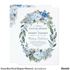Shop Dusty Blue Floral Elegant Watercolor Wedding Invitation created by lovelywow. Personalize it with photos & text or purchase as is! Mason Jar Wedding Invitations, Wedding Party Invites, Beautiful Wedding Invitations, Engagement Party Invitations, Watercolor Wedding Invitations, Bridal Shower Invitations, Wedding Cards, Elegant Wedding Themes, Elegant Bridal Shower