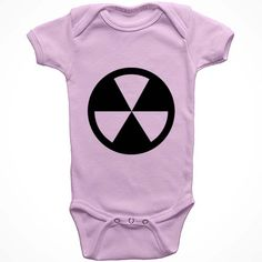 Bio Hazard Baby Onesie. 100% cotton baby onesie available in black, pink, light blue, and white. Unisex baby clothes. Size options for babies newborn, 6 months, 12 months, 18 month and 24 months.