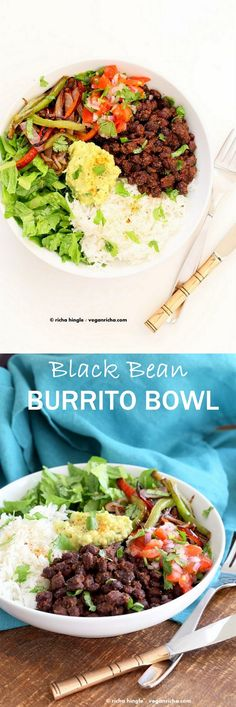 Easy Spicy Black Bean Burrito Bowl #vegan (cumin, garlic, chipotle powder, oregano, cilantro, cayenne, ketchup, bell pepper, red onion, avocado, tomato, jalapeno, lemon or lime, lettuce/greens, brown rice or quinoa) *health note: omit salt, use fresh or generously rinsed canned black beans, & omit or use low sugar, no high fructose corn syrup ketchup.