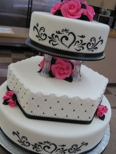 Pink, Black and White Wedding Cake — Love Love Love It!