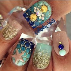 Gold and Blue Nail Art Design