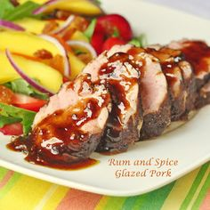 Rum and Spice Glazed Pork - quick, easy and utterly delicious. An impressive workday meal bursting with Caribbean flavors!