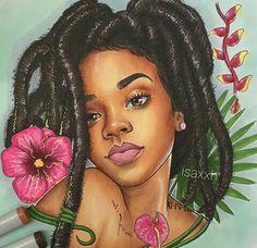 Isaxxh - African-American black woman with dreadlocks portrait drawing Black Love Art, Black Girl Art, My Black Is Beautiful, Black Girls Rock, Black Girl Magic, Art Girl, African American Art, African Art, Arte Black