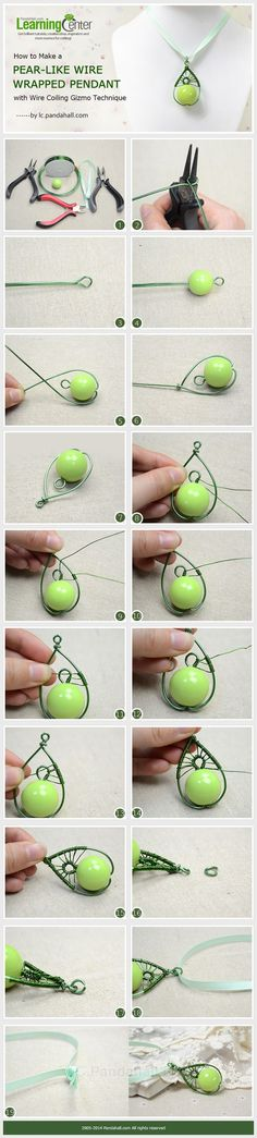 Tutorial DIY Wire Jewelry Image Description How to Make a Pear-Like Wire Wrapped Pendant with Wire Coiling Gizmo Technique ~ Wire Jewelry Tutorials Beads Jewelry, Metal Jewelry, Jewelery, Cheap Jewelry, Wire Pendant, Wire Wrapped Pendant, Wire Wrapped Jewelry, Pendant Earrings, Pearl Pendant