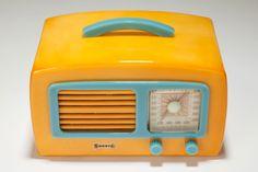 "Vintage Catalin Sonora Radio KM ""Coronet"" in Yellow + Pastel Blue"