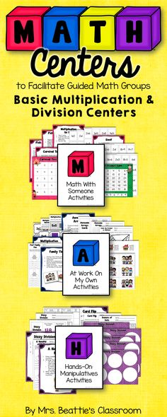 Using a Guided Math or Daily 5 Math approach in your classroom? This basic multiplication and division resource is for you! Focusing on mastering the basic facts, this set of fun centers has just the right number of activities for a month of rotations! Math Classroom, Kindergarten Math, Teaching Math, Classroom Organization, Math Rotations, Math Centers, Numeracy, Daily 3 Math, Daily 5