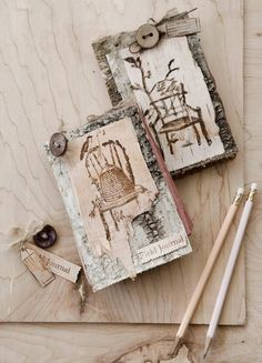 Garden chairs stamped on tree bark by Lynne Moncrieff working with Character Constructions art stamps, Bird & Bee Paperie and Mad Tea Party collections.
