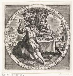 Anonymous   De maand oktober, wijndrinkers, ca. 1600, Anonymous, Crispijn van de Passe (I), Maerten de Vos, 1600 - 1649   Ronde voorstelling met de maand oktober. Een man en vrouw drinken wijn gezeten aan een tafel, de man zit op een wijnvat. Rechts op de achtergrond wordt wijn gemaakt, ca. 1600. Met het teken van de Schorpioen. Met randschrift in het Latijn. Prent nr. 10 in de serie van de twaalf maanden van het jaar verbeeld in scènes uit het volksleven.