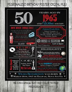 Personalized 50th Birthday Chalkboard Poster Design, 1965 Events, 50th Birthday Gift, What Happened in 1965, Digital File