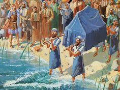 As soon as the priests feet touched the waters they began to recede, and the Israelites walked across the Jordan on dry land.