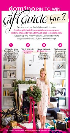 Enter for a chance to win a $500 gift card to domino.com. Enter here http://domino.com/contest/pin-to-win/nov13 #dominomag #pintowin